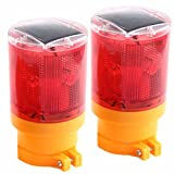 Solar Powered LED Traffic Strobe Warning Lights, Flicker Beacon Road Barricade Construction Sign Lamp Red 2 Pieces