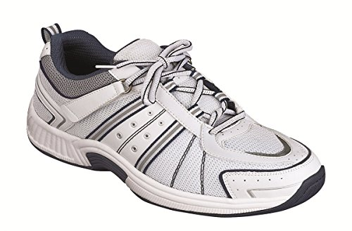 Orthofeet Best Plantar Fasciitis and Diabetic Shoes. Extended Widths. Pain Relief Orthopedic Men's Shoes, Monterey Bay White