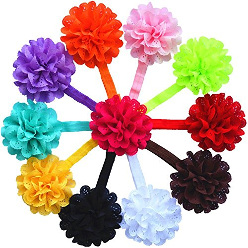 """QS® Baby Girl 14 """"Bandeaux avec Fleur mousseline (Pack de 11)"""