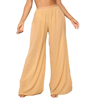 53e733cbd3 RUEWEY Women See Throug Mesh Flare Cover up Pants Swimsuit Bikini Bottom  Cover up Elastic Waist