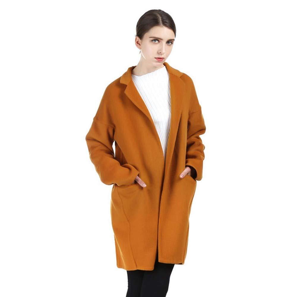 QZHE Frauen Trenchcoat Winter Frauen Mantel Lange Lose Mantel Einfarbig Langärmeligen Casual Mantel