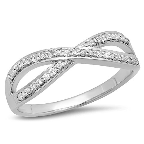 - Dazzlingrock Collection 0.20 Carat (ctw) 925 Sterling Silver Round Diamond Ladies Swirl Wedding Stackable Ring 1/5 CT, Size 6