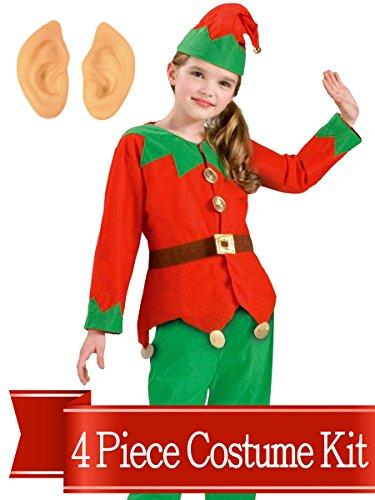 BirthdayExpress Elf Costume Christmas Kids Unisex Complete Costume Kit - One - Elf Kid Costumes