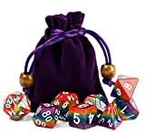 Polyhedral Dice Sets Rainbow Dice for DND Dungeons and Dragons Role Playing Game including Dice Pouch