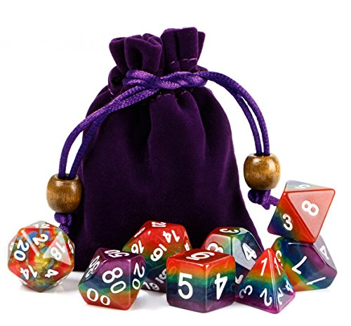 Overhead Dice - Polyhedral Dice Sets Rainbow Dice for DND Dungeons and Dragons Role Playing Game Including Dice Pouch