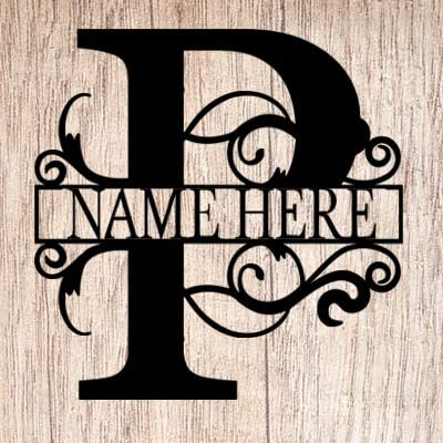 AJD Designs Personalized Last Name P Door Hanger – 20 Metal Monogram Door Hanger- Metal Last Name Sign – Split Letter Monogram – Initial Door Wreath – Last Name Wall Decor – Metal Wall Decor – Gift