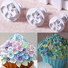 SuperStores 3Pcs/Set Silicone Hydrangea Fondant Cake Decorating SugarCraft Plunger Cutter Flower Blossom Mold Home Kitchen Bake Tool