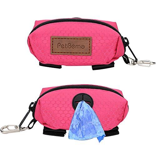 PetBemo Dog Poop Bag Waste Bag Dispenser Premium Quality Dog Poop Dispenser with YKK Zipper for Walking, Running or Hiking Accessory Rose Red
