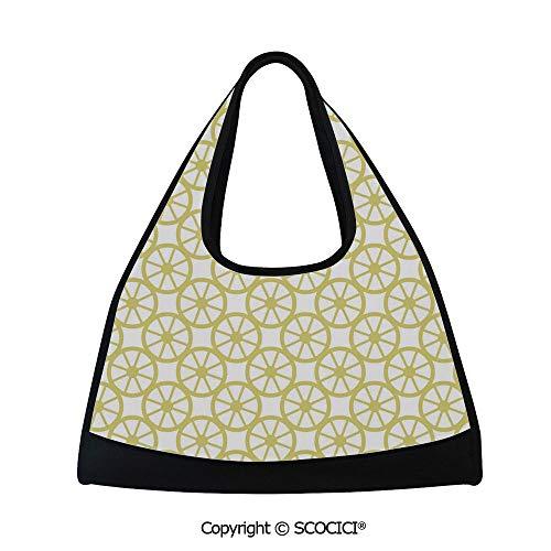 Baseball Lemon Peel (Table tennis bag,Bicycle Bike Wheel Orange Lemon Peel Like Circles Modern Image Art Print Decorative,Sports and Fitness Essentials(18.5x6.7x20 in) Golden and White)