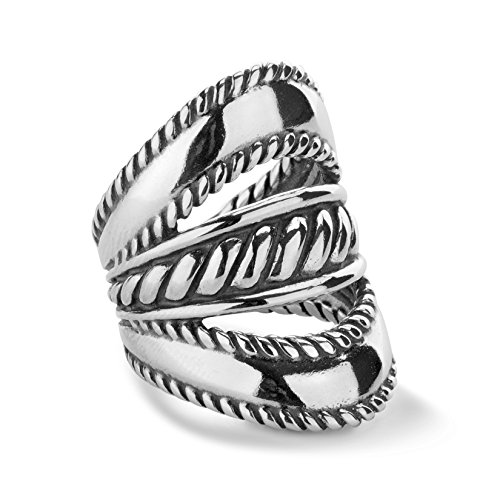 Carolyn Pollack - 925 Sterling Silver Three-Row Elongated Ring - Size 8 - Lasting Connections Collection