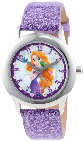 Disney Kids' W000409 Tween Rapunzel Stainless Steel and Purple Glitter Strap Watch