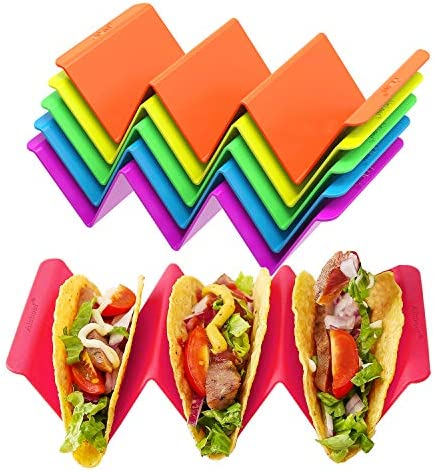 Colorful Taco Holder Stands Set of 6  Premium Large Taco Tray Plates Holds Up to 3 or 2 Tacos Each