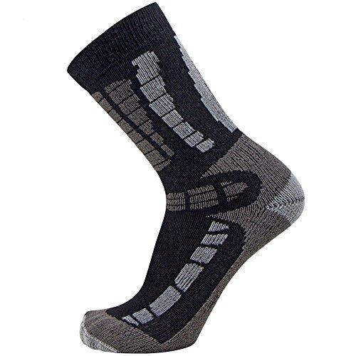 Youth Ski Socks - Merino Wool Children Skiing / Snowboard Sock - Junior OTC Ski Socks (XS/S, Black/Grey)