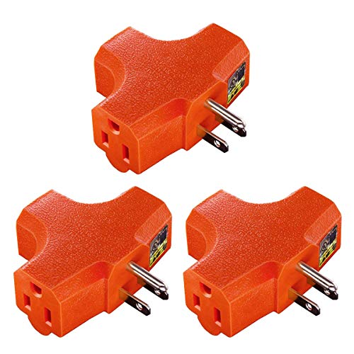 ((3 Pack) Uninex T-shape Triple (3) Outlet Heavy Duty Grounded Wall Plug Tap Adapter Orange)