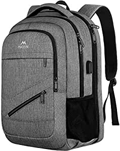 Travel Laptop Backpack,Durable Anti Theft High School Backpack for Women Men,Business Computer Laptop Bag with USB Charging Port,Waterproof College Student Bookbag Fit 15.6 Inch Laptop Notebook GREY 17 Inch
