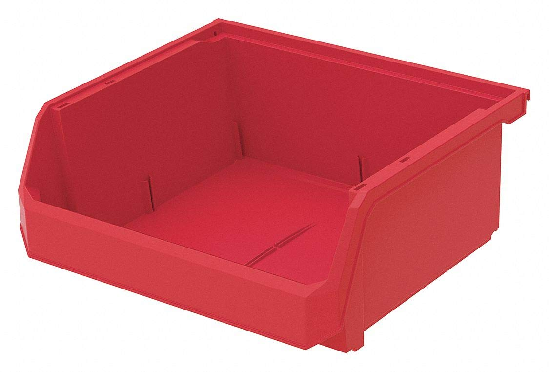 Hang and Stack Bin, Red, 14-3/4'' Outside Length, 16-1/2'' Outside Width, 7'' Outside Height