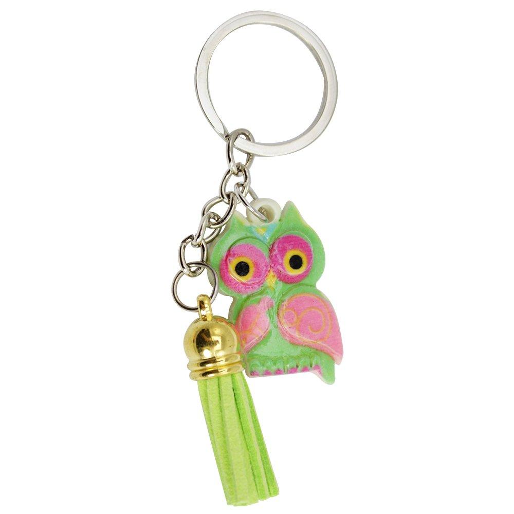 12x Schlüsselanhänger Eule aus Kunststoff in blau und pink
