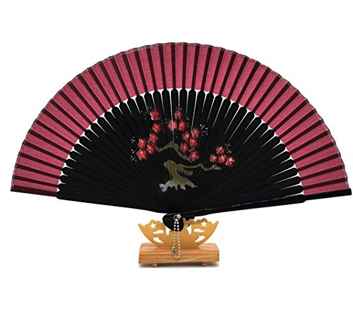 Red 1 Gift Bag And For Gift Plum Blossom Folding Hand Held Fan Bamboo Costume Party Wedding Dancing by Hand Fan
