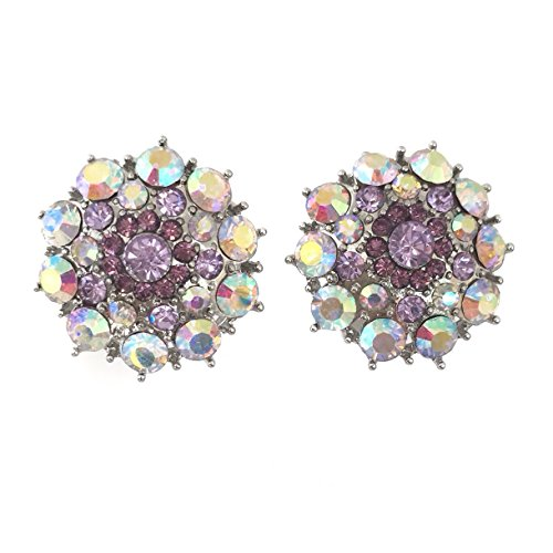 Lavender AB Rhinestone Silver Tone Clip on Light Purple Formal Fancy Earrings