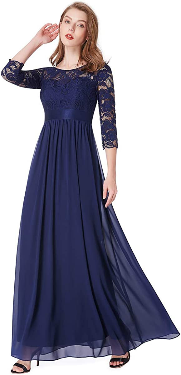Ever-Pretty Vestito da Cerimonia Donna Linea ad A Girocollo Manica 3//4 Pizzo Chiffon Stile Impero Lungo 07412