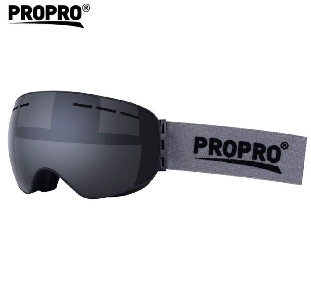 Gafas Gafas de esquí Gafas Gafas Antideslizantes de Marco Grande esféricas Khika Miopía Equipos de Snowboard para Deportes al Aire Libre,Plata 243cb3