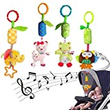 4 Packs Baby Stroller Toys Car Seat Hanging Bell for Boys Girls, Adorable Animal Infant Play Music Crib Toy Carseat Rattles Educational Toys, Kids Hand Bell Puppet with Cute Wind Chime and Squeak