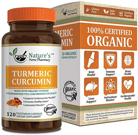 Nature's Home Pharmacy Certified Organic Turmeric & Organic Black Pepper – Supports Reduction of Pain, Inflammation, Arthritis - Immune System with All Pure Organic Ingredients - 60 Day Supply