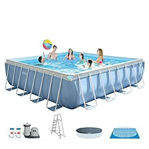 "Intex 16' x 48"" Prism Frame Square Above Ground Swimming Pool Set w/ Filter Pump"