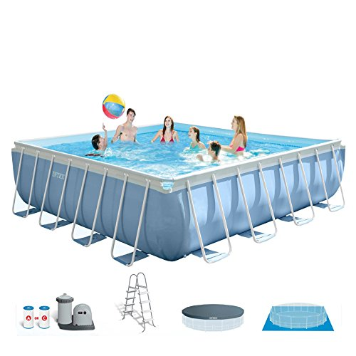 Intex 14' x 42'' Prism XL Frame Square Above Ground Pool Set with Filter Pump by INTEX