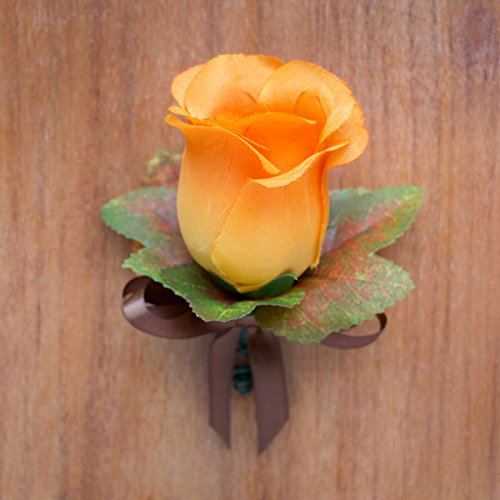 Orange Silk Rose Boutonniere with Fall Maple Leaves - Autumn Wedding Flowers