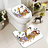 HuaWuhome 2 Piece Bathroom Contour Rugs Coon Wild Animals Anti-Slip Water Absorption
