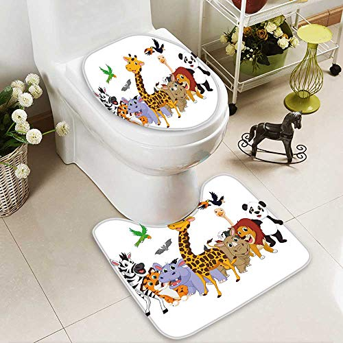 HuaWuhome 2 Piece Bathroom Contour Rugs Coon Wild Animals Anti-Slip Water Absorption by HuaWuhome