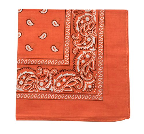 ComboCube 12 Pack(one dozen) Multi-Purpose novelty Orange Cotton Paisley Cowboy Bandanas Headband for Men,Women and Child