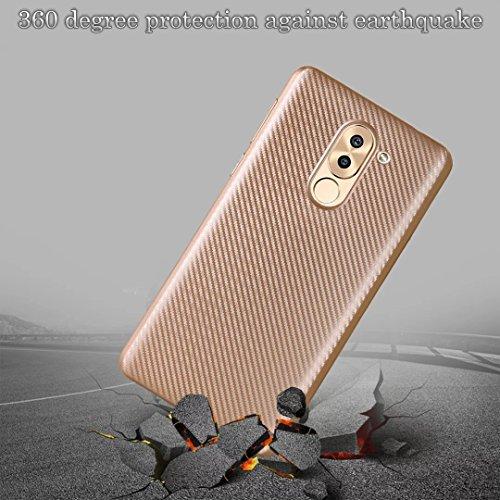 YAJIE-Carcasa Funda Para Huawei Mate 9 Lite / GR5 2017 / Honor 6X, Cubierta de la caja a prueba de golpes de caucho de fibra de carbono delgada TPU híbrida ( Color : Rose Gold ) Gold