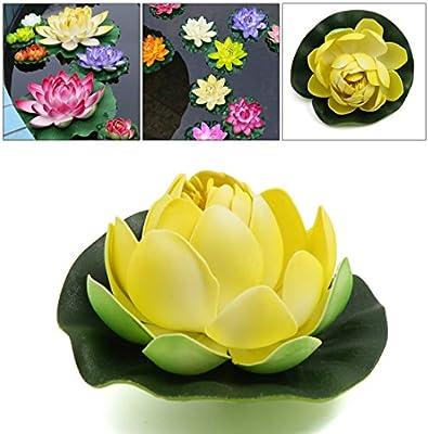 sourcing map Ornamento Planta Flotante De Espuma De Color Amarillo Brote De Flor De Loto Peces De Acuario Tanque De La Decoración Amarillo: Amazon.es: ...