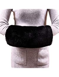 Soft Faux Fur Hand Muffs Women Faux Fur Muffs Hand Warmmers (Black)