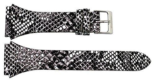 Moog Paris Black Calf Leather Watch Band, Snake Skin Pattern, Pin Clasp, 24mm Strap -