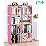 Korie 4 Tier 8 Stair Shape 9-Cube Bookcase Bookshelf Adjustable DIY Cube Storage Shelves Unit (Pink)