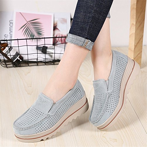 Women Loafers Wide Platform Grey Moccasins Sanyes Slip Wedge Top Shoes Comfort On Hollow Suede Low qB8dT