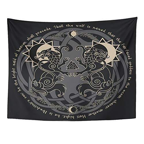 Emvency Tapestry Mandala 60x80 Inch Home Decor Two Wolves from Norse Mythology Hati and Skoll Devour The Sun and Moon Black for Bedroom Living Room ()
