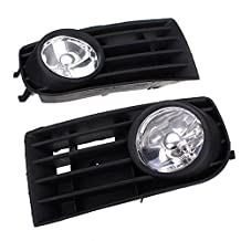 GVDOR 1 Pair Front Bumper Fog Light Lamp Bulbs Grilles GRILL With H3 55W LED DRL For VW MK5 GOLF RABBIT 03-09 2003-2009