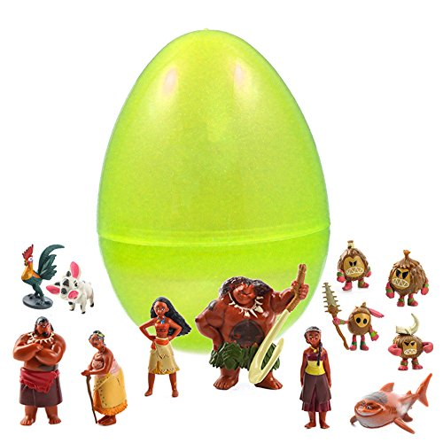 1 Toy Filled Jumbo Easter Egg With 12 Moana Figurines Inside - Find Your Favorite - Prefilled To Save You Time - Perfect For Disney Lovers - Durable Egg and Assortment of Moana Characters