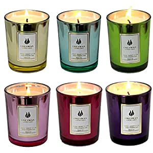 Amazon.com: Set of 6 Scented Candles 100% Soy Wax Glass ...