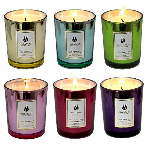 Set of 6 Scented Candles 100% Soy Wax Glass, Home Fragrance Candle Gifts.