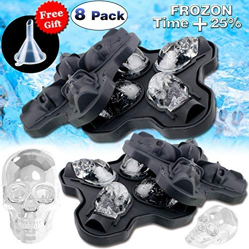 8 Pack Halloween Food Molds Decorations Party Favors Shaped Ice Cube Tray/Food Molds Large Silicone Flexible Mold Ice Cube Round Maker Mold Party Drink Whiskey Wine Cocktail Chocolate Reusable by Godlike