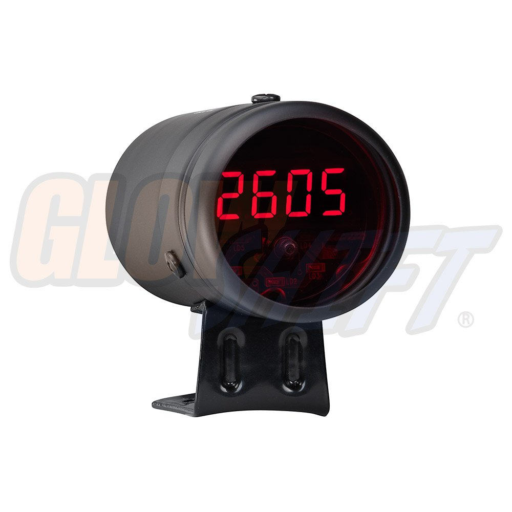 GlowShift Black Digital Tachometer /& Red LED Shift Light