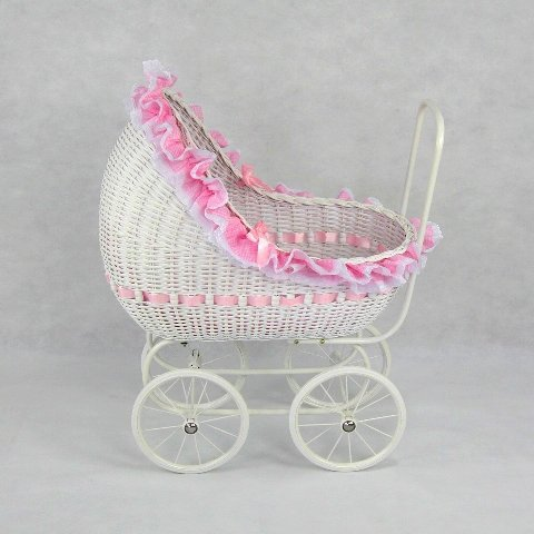 Regal Doll Carriages P668 Isabella Wicker Doll Carriage Buggy Stroller Pram Large - Wicker Buggy