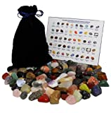 HUGE 101 STONE MIXED LOT Assorted Mix of Bulk Natural Mineral Tumbled Gemstones + Velvet Bag + ID Chart