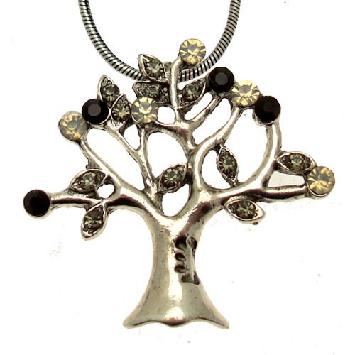 Acosta Tree of Life Necklace Gift Boxed Vintage Style with Black /& Opal Crystal