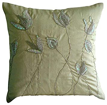 Handmade Cream Pillows Cover, Sequins and Beaded Lily Flower Floral Theme Pillows Cover, 14 x14 Cushion Covers, Square Silk Throw Pillows Cover, Floral Contemporary Pillow Covers -Lily of The Valley